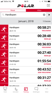 Trainingsoverzicht Polar app
