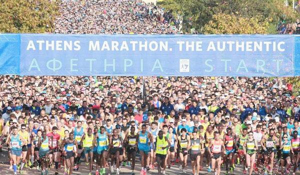 Start van de Athene Marathon