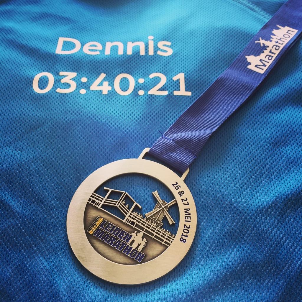 Finishers shirt + medaille van de Leiden Marathon 2018